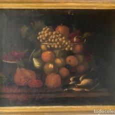 Arte: BODEGON DEL S. XVII , ESCUELA ESPAÑOLA , SANDÍA , UVAS , PÁJARO. Lote 210782850