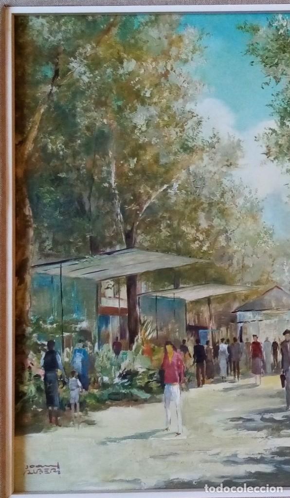 Arte: CUADRO OLEO ORIGINAL LAS RAMBLAS BARCELONA - JOAN ALBERT (1919-?) - 65x75 CMTS RECOGIDA LOCAL - Foto 2 - 190226251