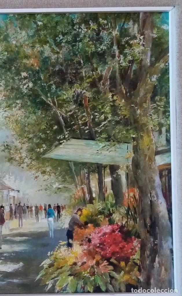 Arte: CUADRO OLEO ORIGINAL LAS RAMBLAS BARCELONA - JOAN ALBERT (1919-?) - 65x75 CMTS RECOGIDA LOCAL - Foto 3 - 190226251