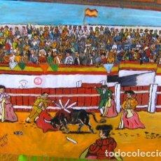 Arte: TOROS.-ENTRANDO A MATAR, ÓLEO MADERA 65X85 CM. DE CRESPO. Lote 210807015