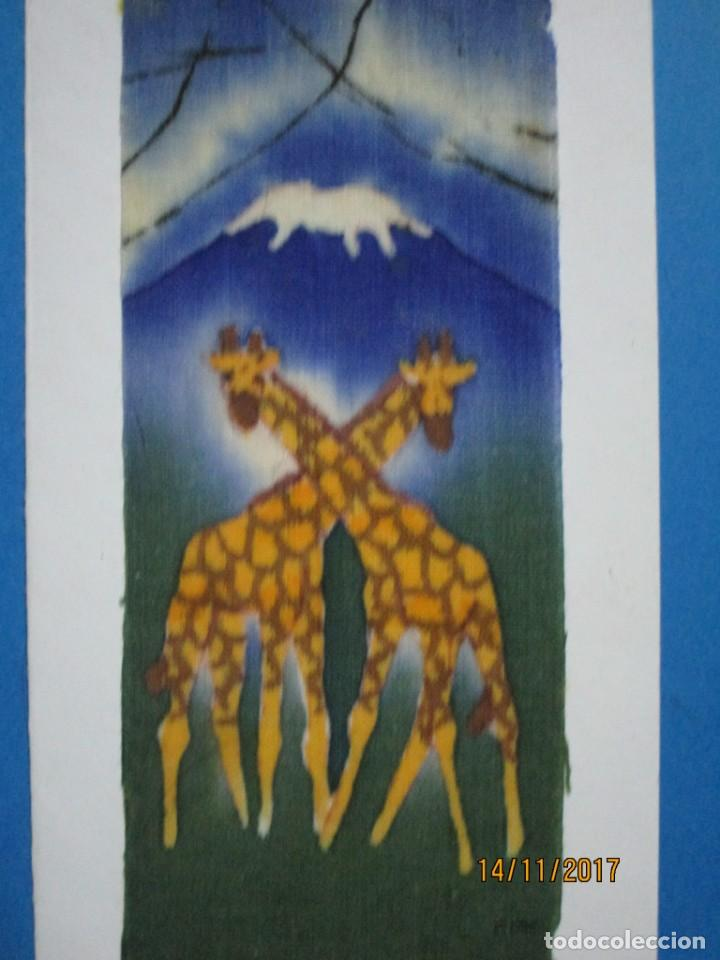 Arte: antigua pintura en tela jirafas firmado - Foto 7 - 210809406