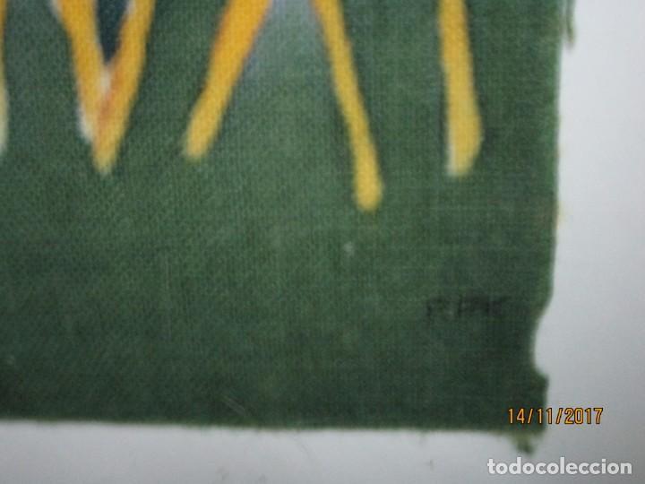 Arte: antigua pintura en tela jirafas firmado - Foto 2 - 210809406