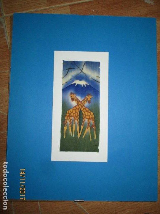 Arte: antigua pintura en tela jirafas firmado - Foto 6 - 210809406