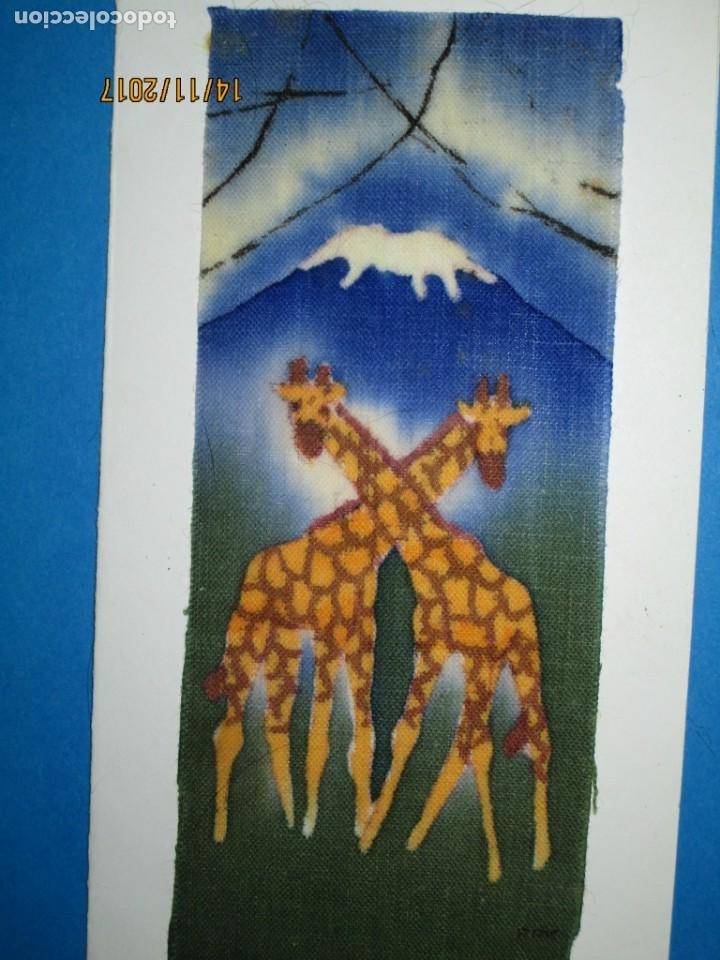 Arte: antigua pintura en tela jirafas firmado - Foto 8 - 210809406