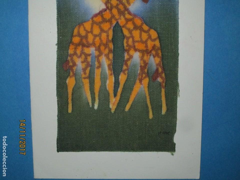 Arte: antigua pintura en tela jirafas firmado - Foto 9 - 210809406