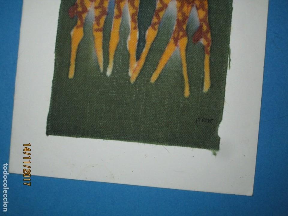 Arte: antigua pintura en tela jirafas firmado - Foto 10 - 210809406