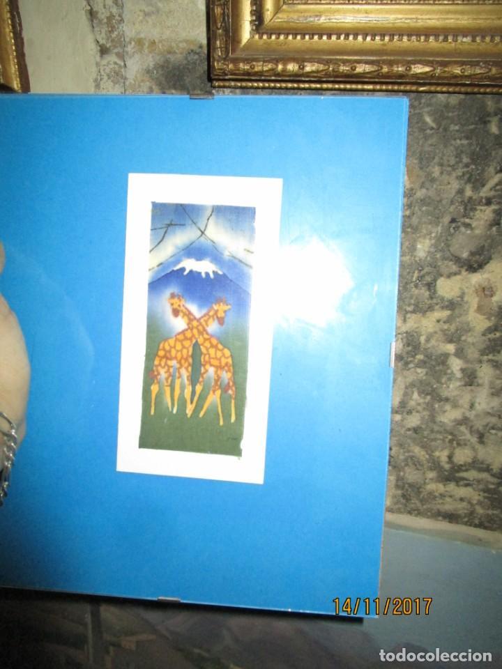 Arte: antigua pintura en tela jirafas firmado - Foto 11 - 210809406