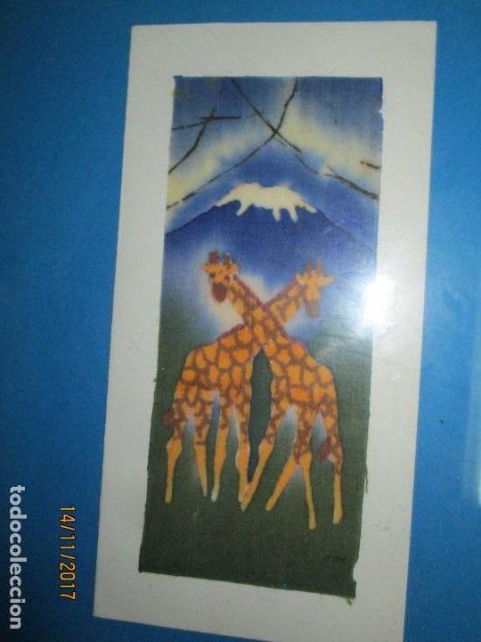 Arte: antigua pintura en tela jirafas firmado - Foto 15 - 210809406
