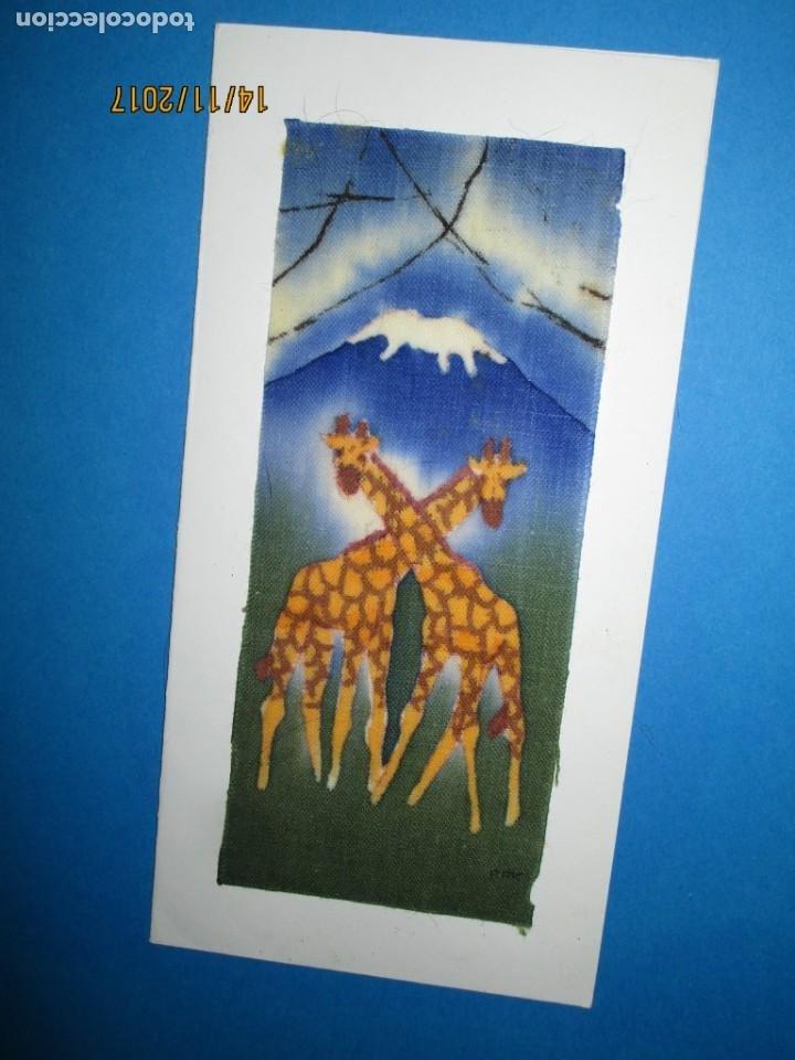 Arte: antigua pintura en tela jirafas firmado - Foto 18 - 210809406