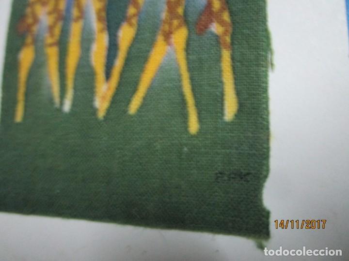 Arte: antigua pintura en tela jirafas firmado - Foto 3 - 210809406