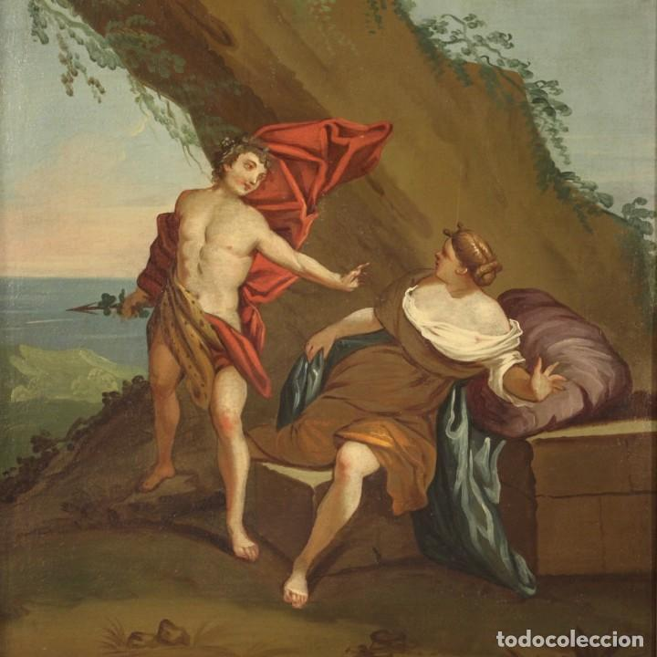 PINTURA MITOLÓGICA ITALIANA ANTIGUA BACO Y ARIADNA DEL SIGLO XVIII (Arte - Pintura - Pintura al Óleo Antigua siglo XVIII)