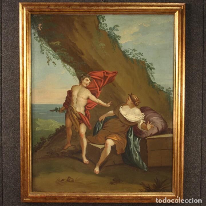 Arte: Pintura mitológica italiana antigua Baco y Ariadna del siglo XVIII - Foto 2 - 210843320