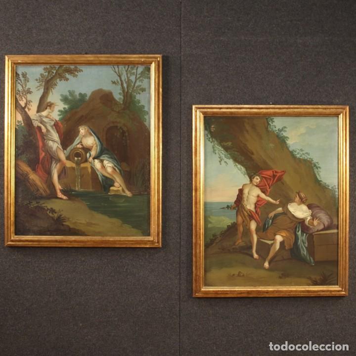 Arte: Pintura mitológica italiana antigua Baco y Ariadna del siglo XVIII - Foto 3 - 210843320