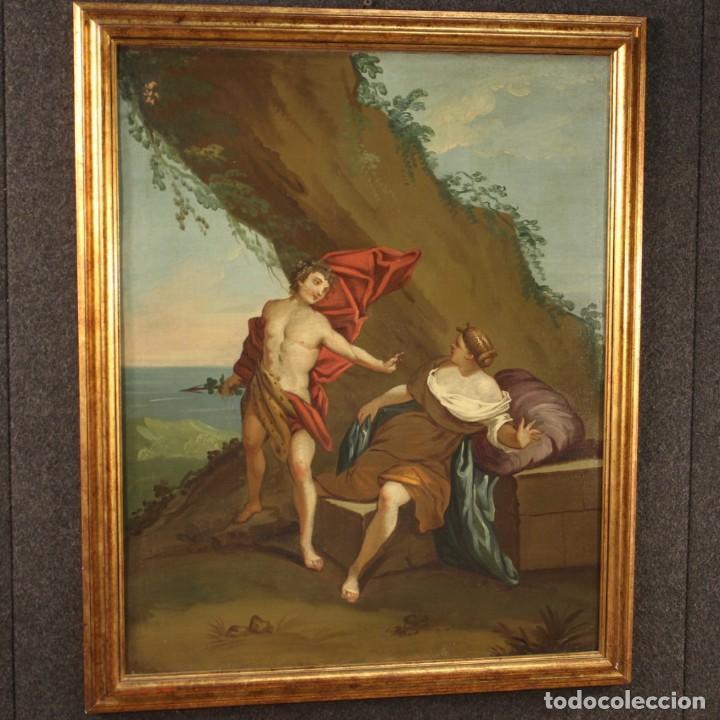 Arte: Pintura mitológica italiana antigua Baco y Ariadna del siglo XVIII - Foto 5 - 210843320