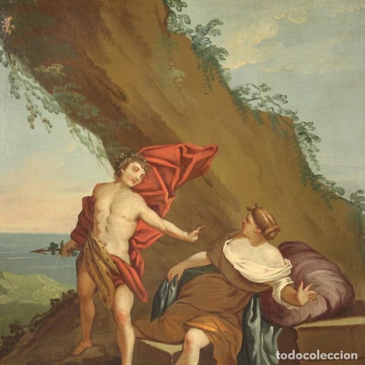 Arte: Pintura mitológica italiana antigua Baco y Ariadna del siglo XVIII - Foto 6 - 210843320