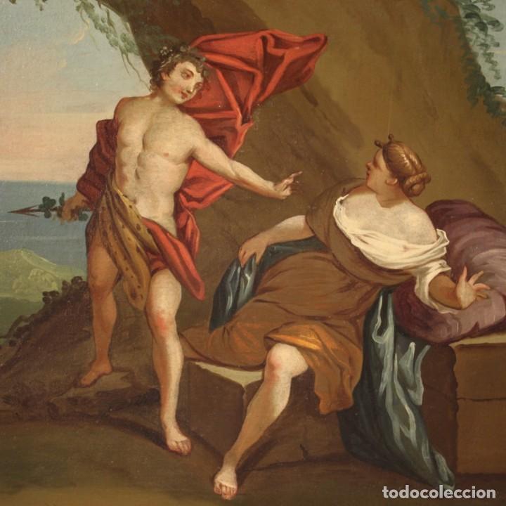 Arte: Pintura mitológica italiana antigua Baco y Ariadna del siglo XVIII - Foto 7 - 210843320