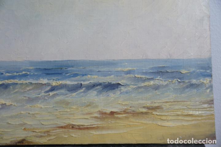 Arte: oleo sobre tablex. Paisaje de costa. Marina. 35 x 27. Sin enmarcar. - Foto 2 - 210936247