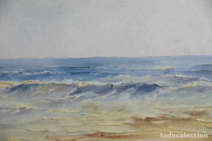 Arte: oleo sobre tablex. Paisaje de costa. Marina. 35 x 27. Sin enmarcar. - Foto 3 - 210936247