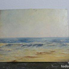 Arte: OLEO SOBRE TABLEX. PAISAJE DE COSTA. MARINA. 35 X 27. SIN ENMARCAR.. Lote 210936247