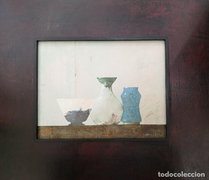 Arte: Garaizábal, Javier. (Ferrol, A Coruña, 1944). Bodegón. Óleo sobre tabla. - Foto 4 - 210943815