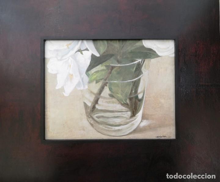 Arte: Garaizábal, Javier. (Ferrol, A Coruña, 1944). Vaso con flor. Óleo sobre tabla. - Foto 4 - 210943964