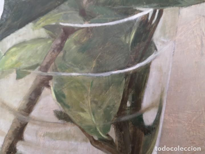 Arte: Garaizábal, Javier. (Ferrol, A Coruña, 1944). Vaso con flor. Óleo sobre tabla. - Foto 2 - 210943964