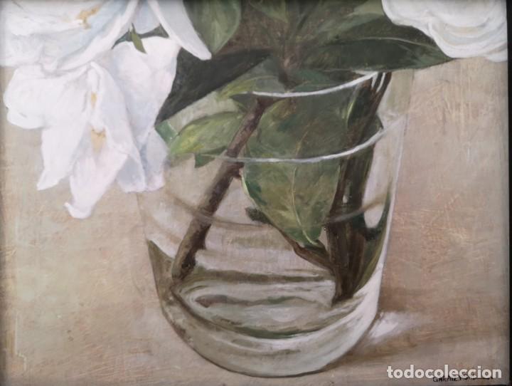 GARAIZÁBAL, JAVIER. (FERROL, A CORUÑA, 1944). VASO CON FLOR. ÓLEO SOBRE TABLA. (Arte - Pintura - Pintura al Óleo Contemporánea )