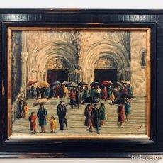 Arte: GALICIA CATEDRAL DE SANTIAGO - OLEO SOBRE TABLA - FACHADA DE LAS PLATERIAS - FIRMA MORET 1979 +INFO. Lote 210833361