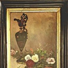 Arte: RAFAEL SANCHIS TOMÁS , ESCUELA ESPAÑOLA S.XIX ,BODEGÓN JARRÓN Y FLORES .ÓLEO/LIENZO 48 X 32´5. Lote 210955762
