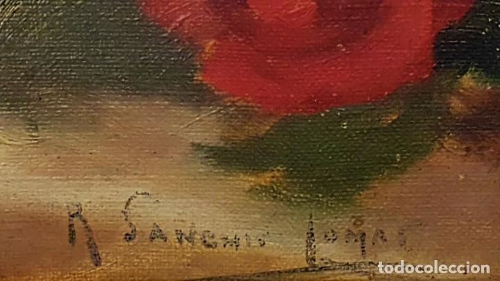 Arte: RAFAEL SANCHIS TOMÁS , ESCUELA ESPAÑOLA S.XIX ,BODEGÓN JARRÓN Y FLORES .ÓLEO/LIENZO 48 x 32´5 - Foto 4 - 210955762