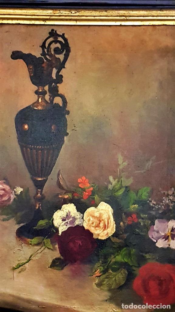 Arte: RAFAEL SANCHIS TOMÁS , ESCUELA ESPAÑOLA S.XIX ,BODEGÓN JARRÓN Y FLORES .ÓLEO/LIENZO 48 x 32´5 - Foto 8 - 210955762