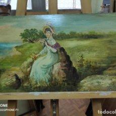 Arte: DAMA ROMÁNTICA SENTADA EN ACANTILADO - ÓLEO. Lote 210963984