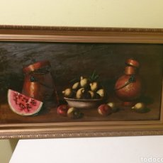 Arte: ANTIGUO Y GRAN BODEGON PINTADO AL OLEO SOBRE TABLA. Lote 163714344