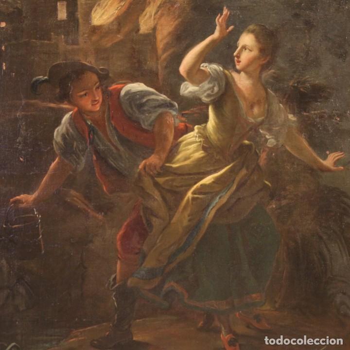 PINTURA ANTIGUA ESCENA DE FUEGO NOCTURNO CON PERSONAJES DEL SIGLO XVIII (Arte - Pintura - Pintura al Óleo Antigua siglo XVIII)