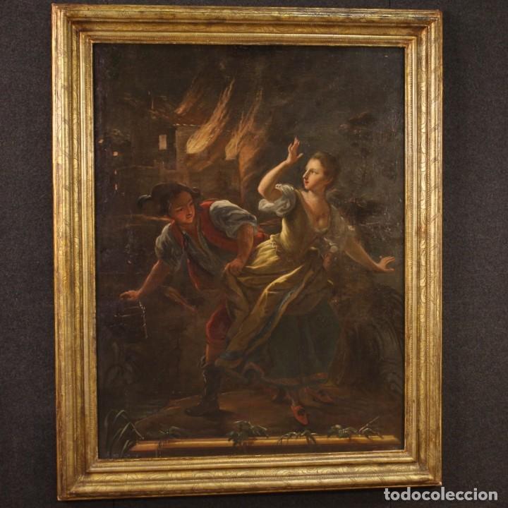 Arte: Pintura antigua escena de fuego nocturno con personajes del siglo XVIII - Foto 2 - 211263707