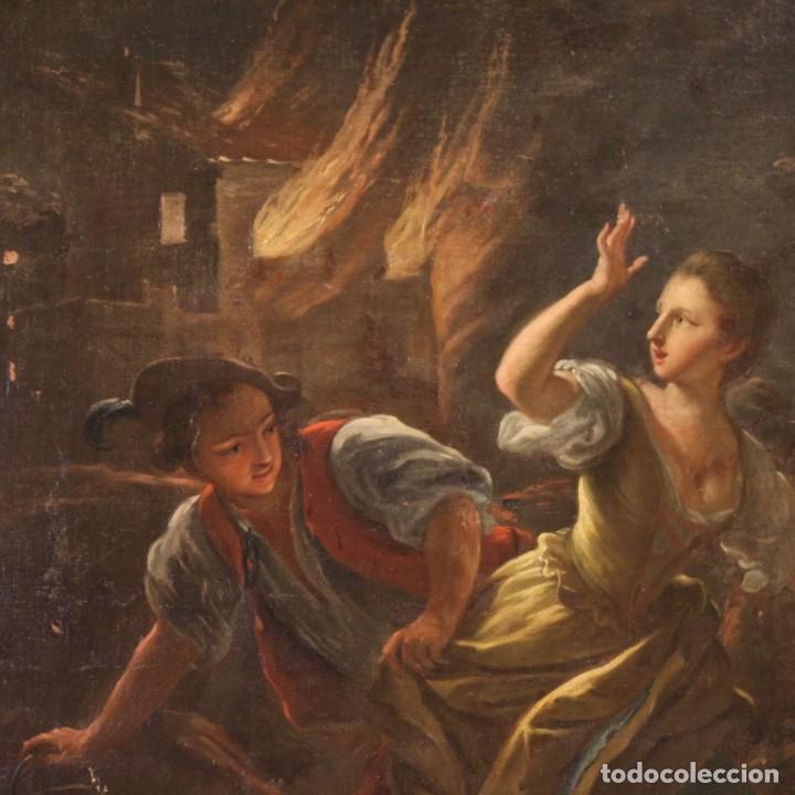 Arte: Pintura antigua escena de fuego nocturno con personajes del siglo XVIII - Foto 4 - 211263707