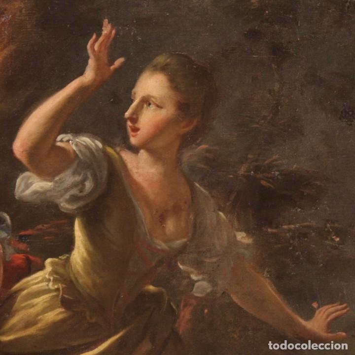 Arte: Pintura antigua escena de fuego nocturno con personajes del siglo XVIII - Foto 5 - 211263707