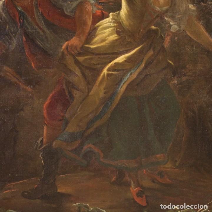 Arte: Pintura antigua escena de fuego nocturno con personajes del siglo XVIII - Foto 6 - 211263707