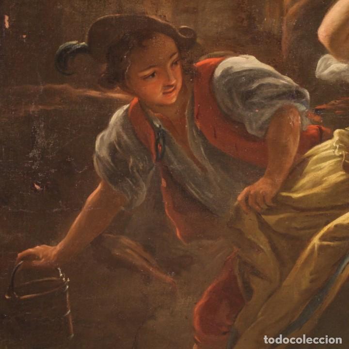 Arte: Pintura antigua escena de fuego nocturno con personajes del siglo XVIII - Foto 7 - 211263707