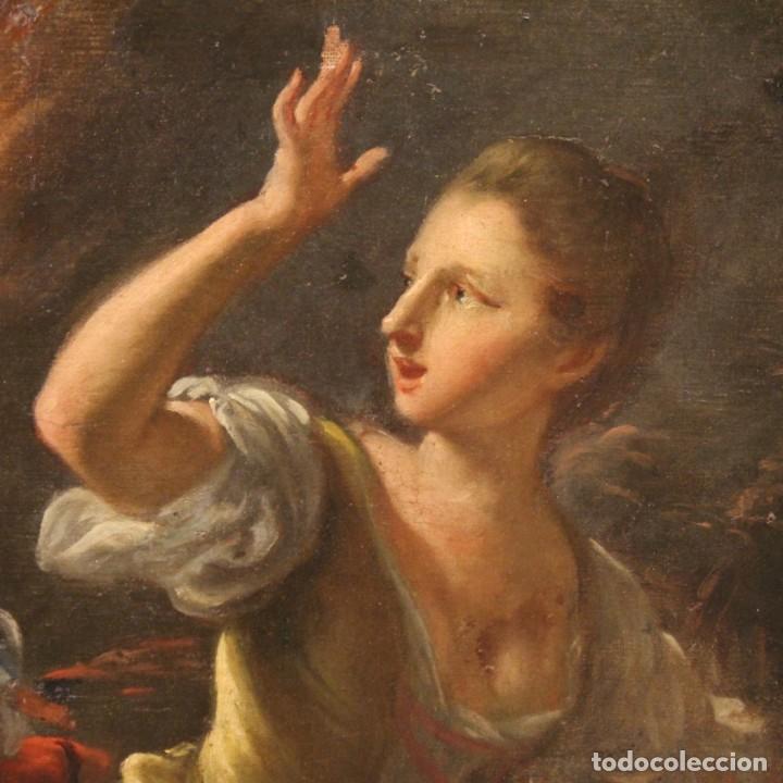 Arte: Pintura antigua escena de fuego nocturno con personajes del siglo XVIII - Foto 8 - 211263707