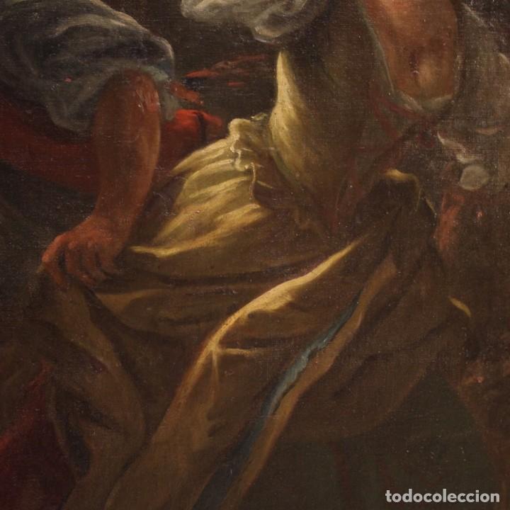 Arte: Pintura antigua escena de fuego nocturno con personajes del siglo XVIII - Foto 11 - 211263707