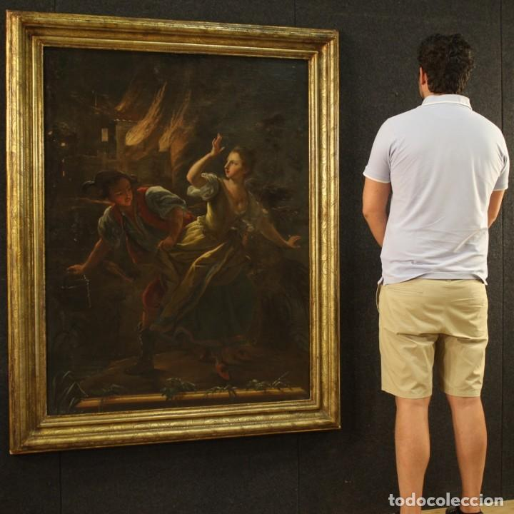 Arte: Pintura antigua escena de fuego nocturno con personajes del siglo XVIII - Foto 12 - 211263707