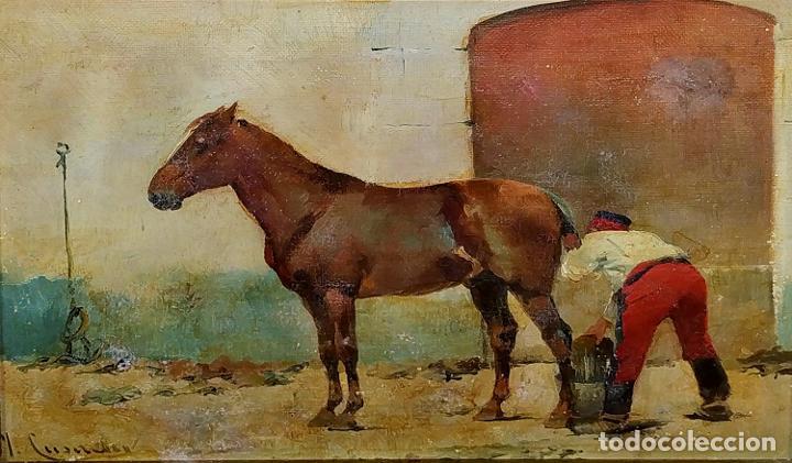 CABALLO Y SOLDADO. ÓLEO SOBRE LIENZO. FIRMADO. (JOSEP) CUSACHS. ESPAÑA. PRINCIO SIGLO XX (Arte - Pintura - Pintura al Óleo Contemporánea )