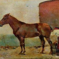 Arte: CABALLO Y SOLDADO. ÓLEO SOBRE LIENZO. FIRMADO. (JOSEP) CUSACHS. ESPAÑA. PRINCIO SIGLO XX. Lote 211263754