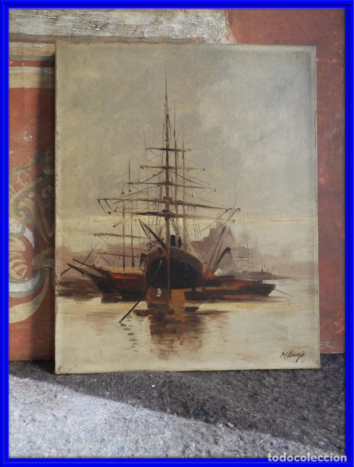 CUADRO MARINA AL OLEO FIRMADA POR ML DURANG (Arte - Pintura - Pintura al Óleo Antigua sin fecha definida)
