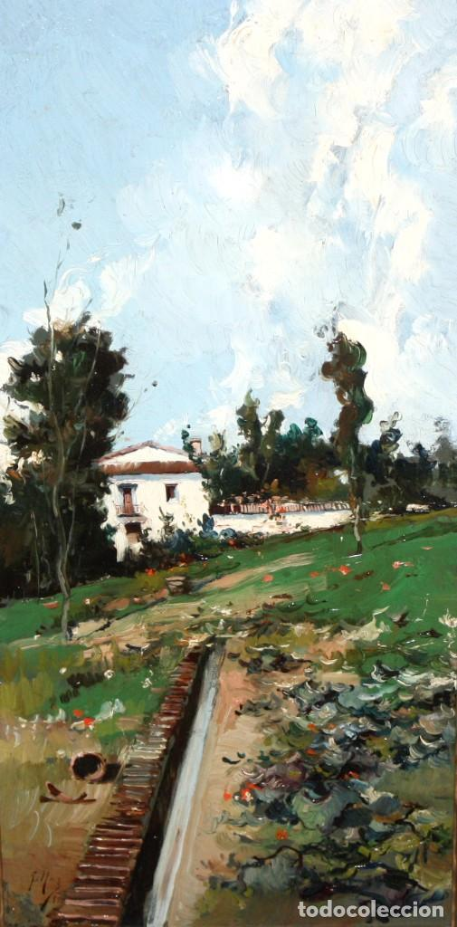 FRANCISCO MAS Y CARRASCO (VALENCIA, FIN. SIGLO XIX) OLEO SOBRE TABLA. PAISAJE (Arte - Pintura - Pintura al Óleo Moderna siglo XIX)