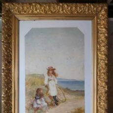 Arte: ANTIGUO CUADRO ÓLEO SOBRE OPALINA FIRMADO M. DE BORRÁS Y FECHADO EN 1893. Lote 211462937