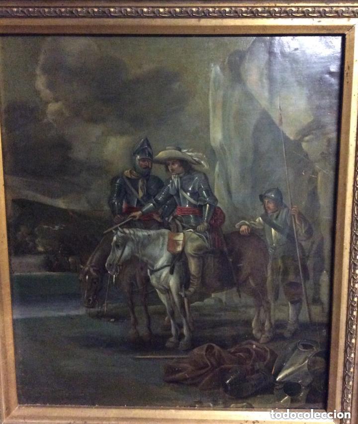 Arte: D.QUIXOTE DE LA MANCHA,Óleo sobre Plancha de cobre con escena del Quijote,finales del Siglo XVIII - Foto 3 - 211501097