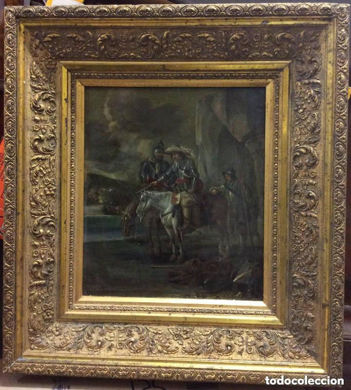 Arte: D.QUIXOTE DE LA MANCHA,Óleo sobre Plancha de cobre con escena del Quijote,finales del Siglo XVIII - Foto 4 - 211501097