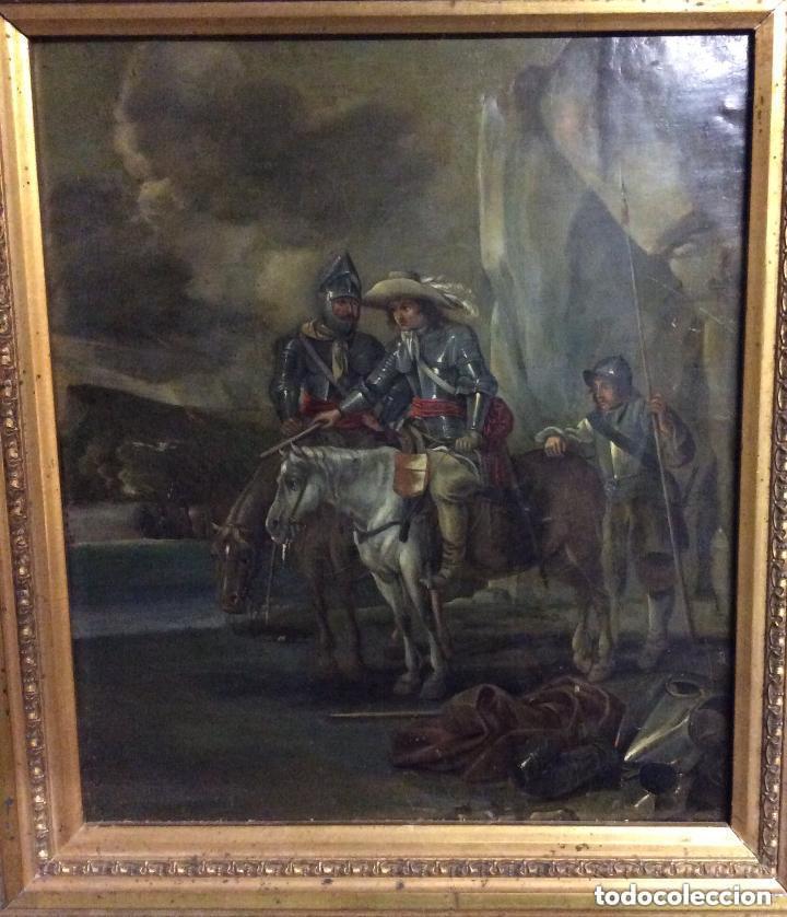 Arte: D.QUIXOTE DE LA MANCHA,Óleo sobre Plancha de cobre con escena del Quijote,finales del Siglo XVIII - Foto 6 - 211501097